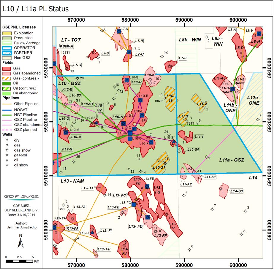 L10/11 locatiekaart gasvelden